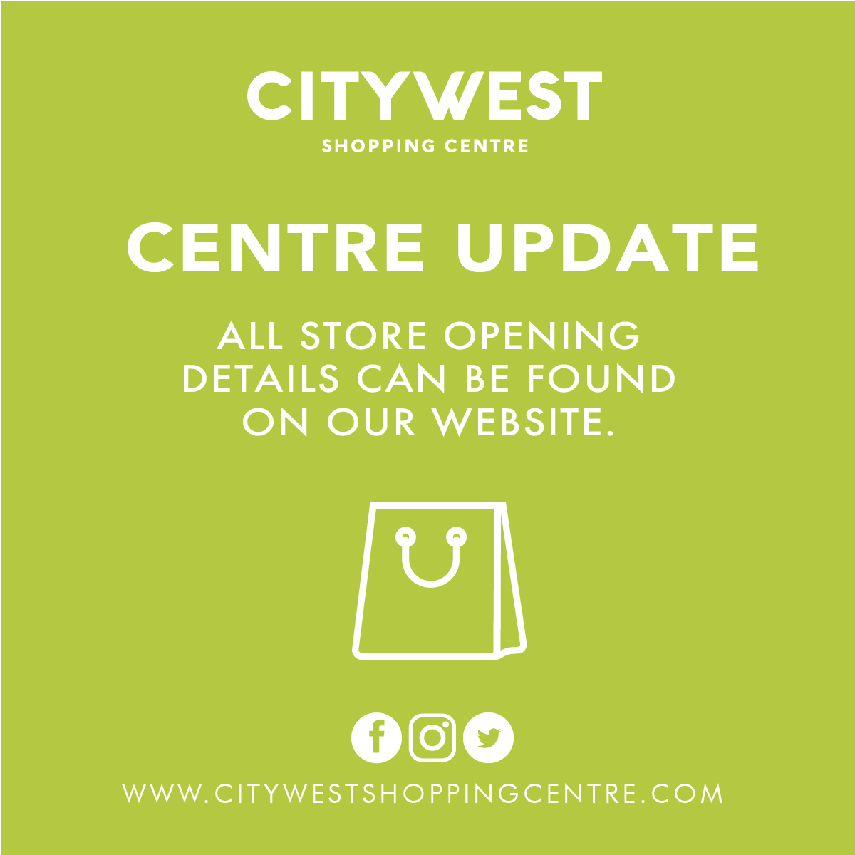 Stores at Citywest Shopping Centre are Open!